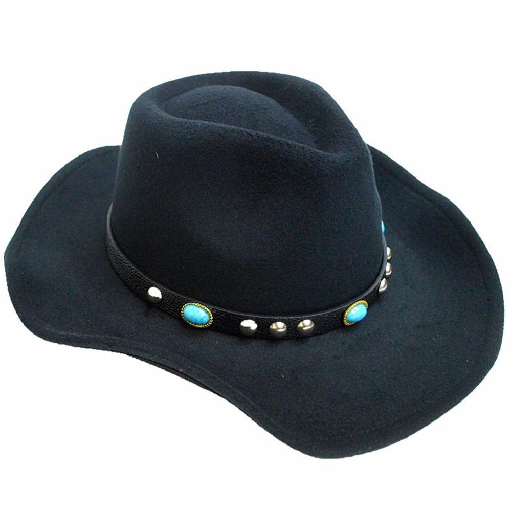 0e1b2ce1cc8 Ljourney Vintage Woolen Western Cowboy Hat with Adjustable Gemstone Belt  Wide Brim Cowgirl Jazz Cap Horse Riding Hat for Mens and Women 4 Colors  ...