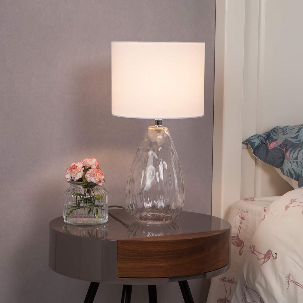 Wtape Modern Clear Glass Base Bedside Table Lamp White for Bedroom, Living Room, Kids Room, College Dorm, Coffee Table, Bookcase by Wtape (Image #3)