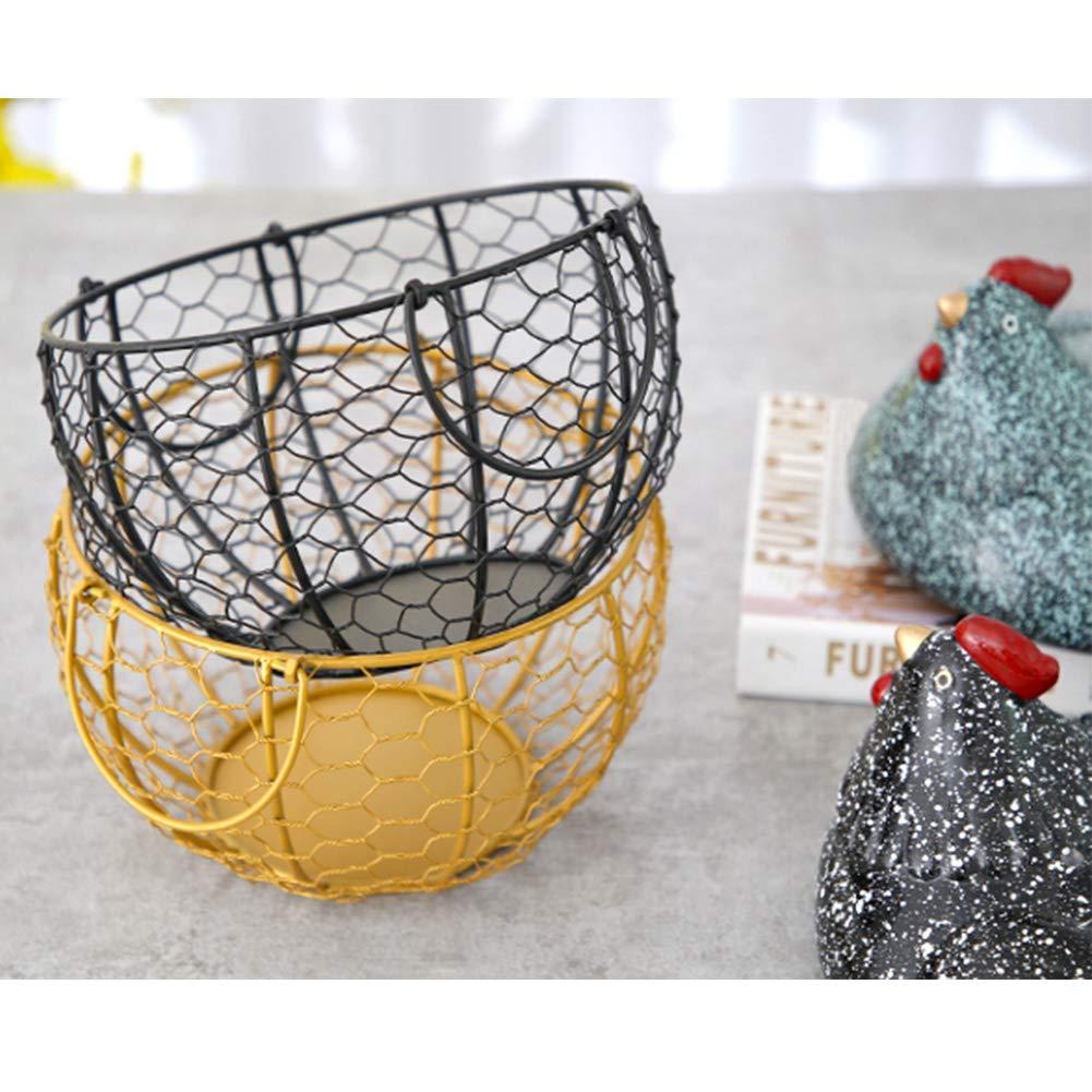 Egg Storage Basket,metal Mesh Wire Basket With Handles,ceramic Chicken Shaped Lid,14 Patterns,kitchen Storage Container-n 19.5x22cm(7.7x8.7inch)