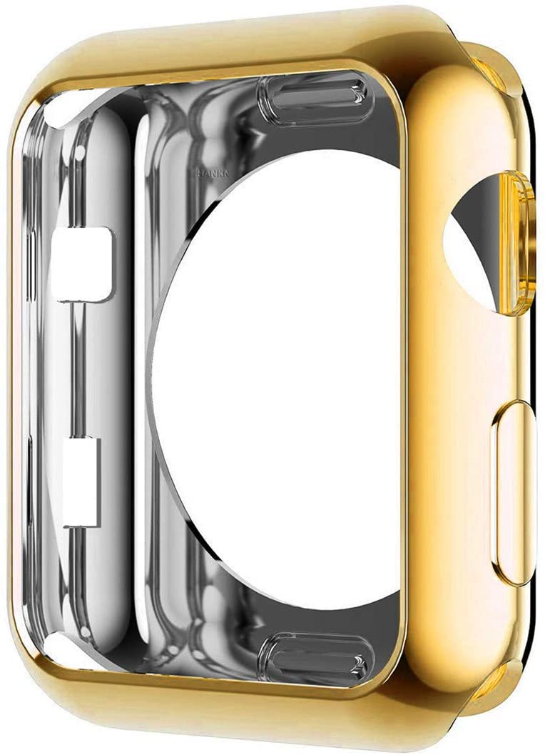 HANKN Compatible with Apple Watch Series 3 2 1 38mm Case, Soft TPU Plated Shiny Cover Iwatch Bumper [No Front Screen Protector] (Gold, 38mm)