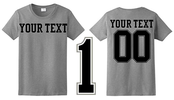 96ea04475 Amazon.com: Personalized Custom Ladies Glitter Vinyl T-Shirt Jersey Style  -Personalized Your Way! Great For Birthdays, Sports, Etc.: Handmade