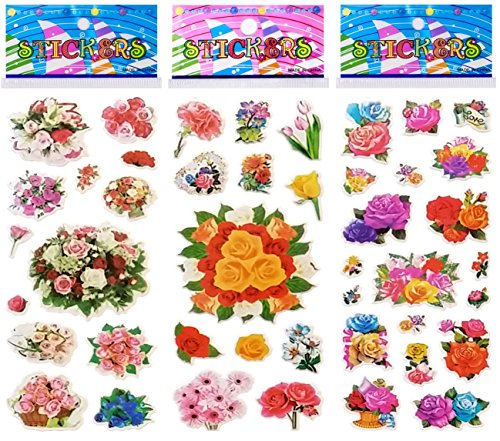 Stickers Scrapbooking Decal (6 Sheets Puffy Dimensional Scrapbooking Party Favor Stickers + 18 FREE Scratch and Sniff Stickers - FLOWERS)