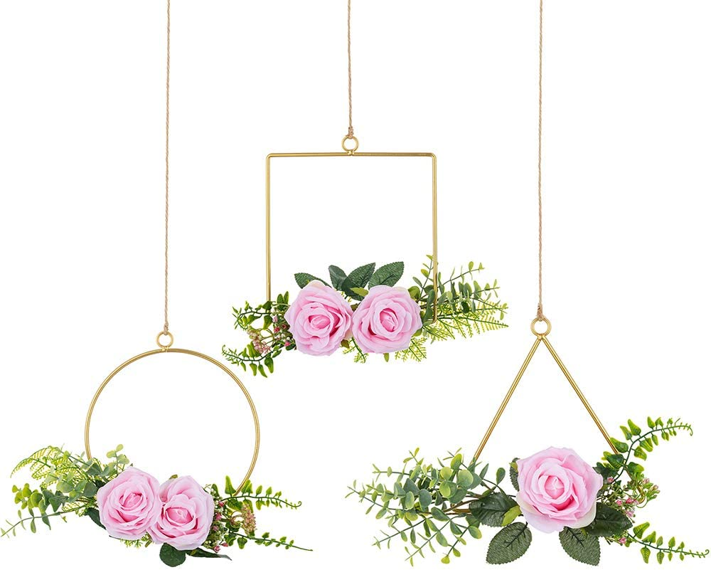 Sziqiqi Flower Floral Wreaths Hoop Rings Artificial Flower Greenery Garland Wreaths for Wedding Backdrop Baby Nursery Decoration Baby Shower Wall Decor Set of 3 Eucalyptus Leaves Pink Roses