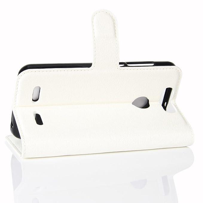 Guran® Funda de Cuero PU Para ZTE Blade V8 Lite Smartphone Función de Soporte con Ranura para Tarjetas Flip Case Cover Caso-blanco