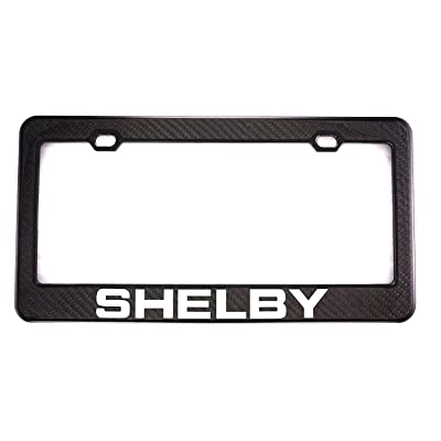 Qptimum SHELBY Racing Carbon Fiber Stainless-Steel License Plate Frame Cover For Mustang (1): Automotive