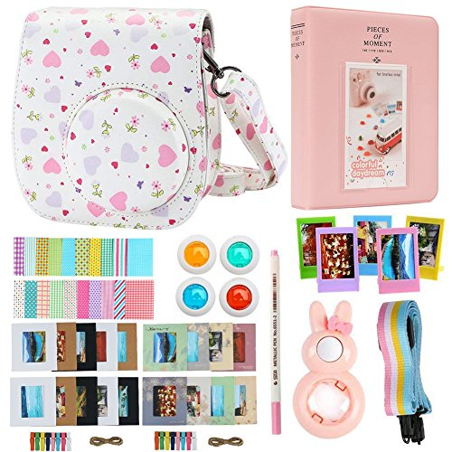 Alohallo Instax Mini 9 Mini 8 Mini 8 + Accessories for FujiFilm Instax Mini 8/8+/ 9 Instant Film Camera with Camera Case/Lens / Mini Album/Color Frame/Sticker / Strap/Pens/ Filter(Heart)