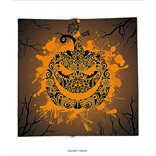 Custom printed Throw Blanket with Halloween Decorations Collection Engraved Pumpkin with Fire Flame Inspired Color Splash Ghost Party Themed Art Brown Orange Super soft and Cozy Fleece Blanket