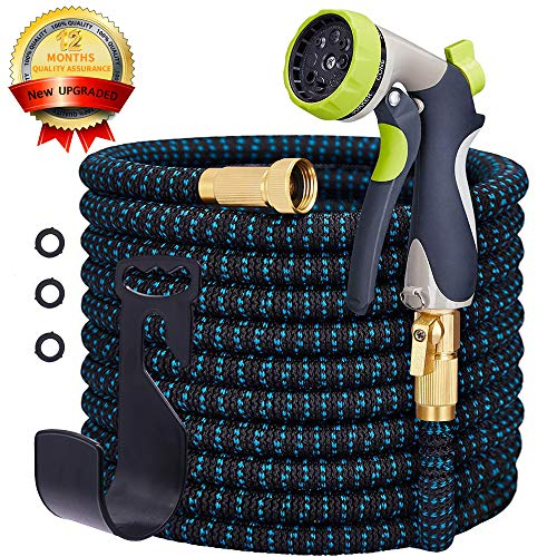 - SANCEON Garden Hose Expandable, Durable Flexible Several Layers Latex Water Hose, Super Wear-Resistant 3750D Fabric Cover with Strong Brass Connector and Water 8 Function Zinc Spray Nozzle(50 Feet)