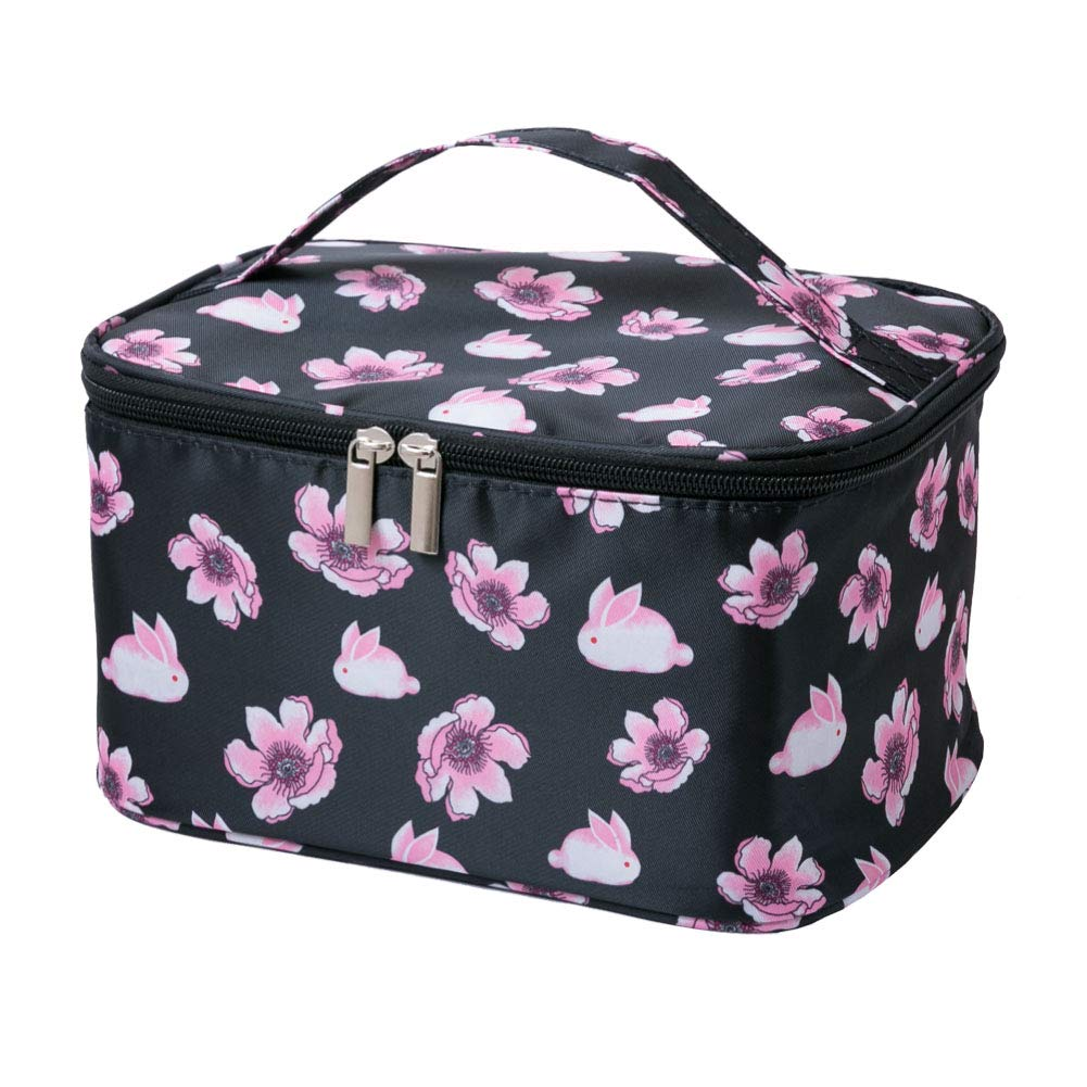 HOYOFO Women Portable Travel Cosmetic Bags with Mesh Pocket Make Up Bags, Black Flower
