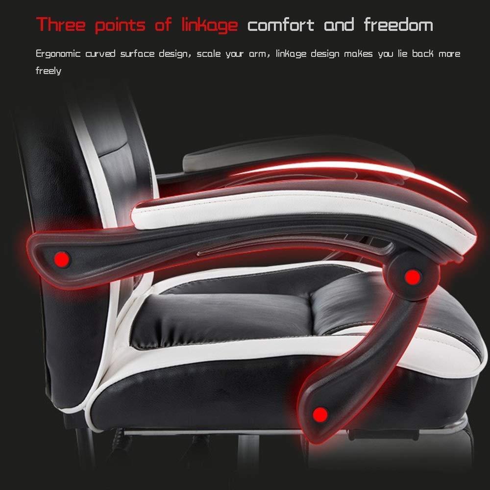 JIEER-C stol svängbar spelstol med midja massage ergonomisk kontor datorstol justerbar höjd hög rygg personal verkställande stol för kontor mötesrum, svart röd Svart vit