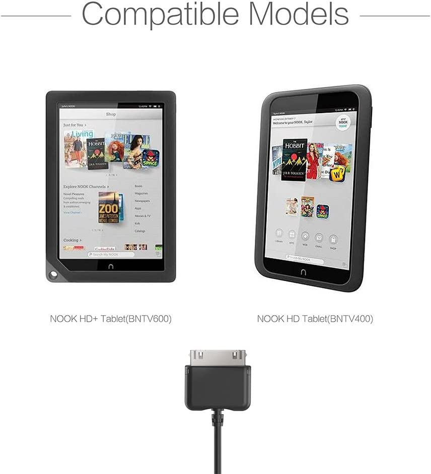 Barnes /& Noble Charging Cable For Nook HD and HD+ TUSITA 2-PACK 6.5ft//200cm