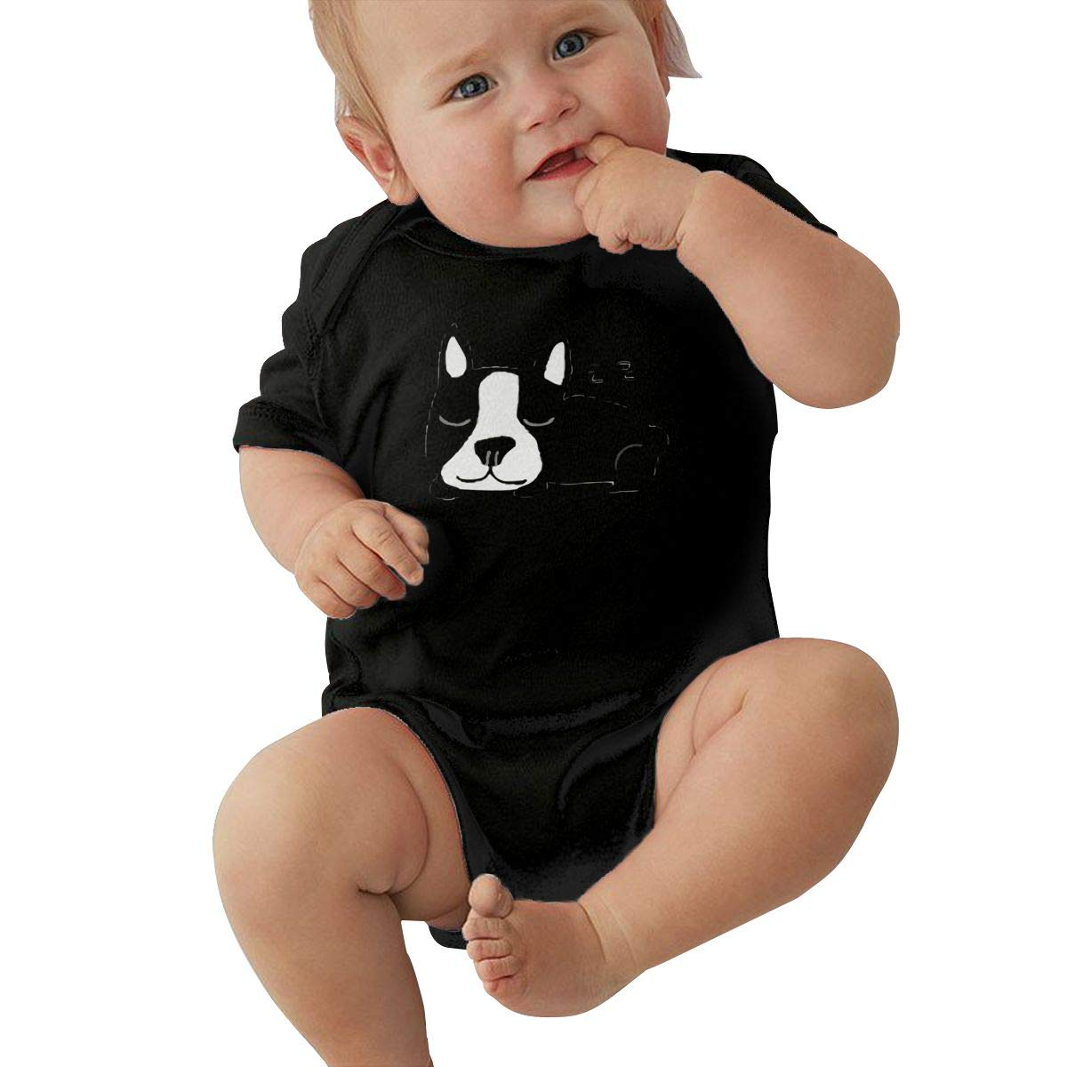 Infant Baby Girls Bodysuit Short-Sleeve Onesie Sleeping French Bulldog Dog AABB Print Rompers