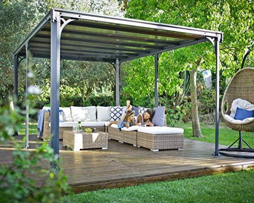 Palram HG9173 Milano - Cenador de jardín (10 x 14 cm), color gris y bronce: Amazon.es: Jardín