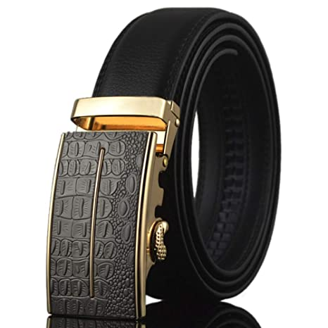 DENGDAI Belt Automatic Buckle Belt Mens Casual Belt Length 110-130cm