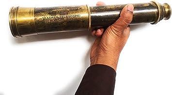 "Nautical Antique Brass Telescope Vintage Spyglass Leather Decor w Belt 32/"" Large"
