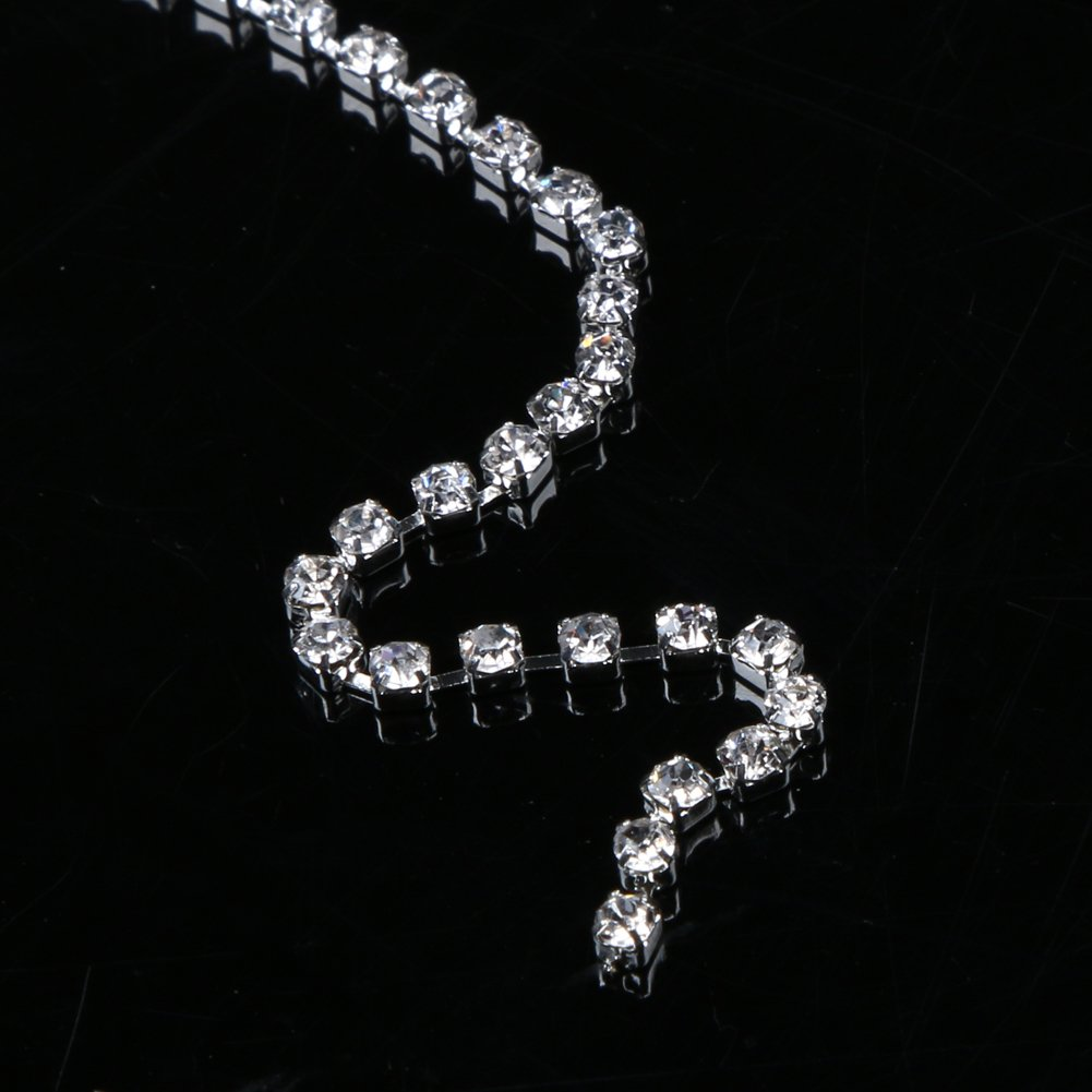 2mm 3mm 3mm, Silver Clear Trim Sewing Craft Whitelotous 10Yards//Roll Sparkle Crystal Rhinestone Close Claw Chain SS6 SS12