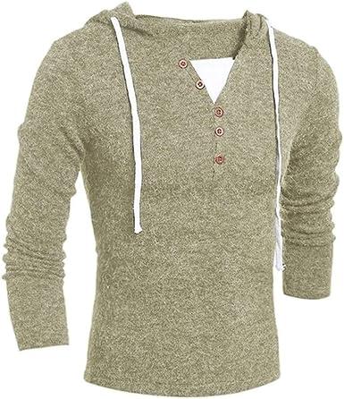 qulvyushangmaobu Jersey de Punto para Hombre Camisa Delgada de Manga Larga Sudadera básica de Manga Larga con Cuello Chal, Sudadera con Capucha para Hombre Jersey de Manga Larga de Punto Casual: Amazon.es: