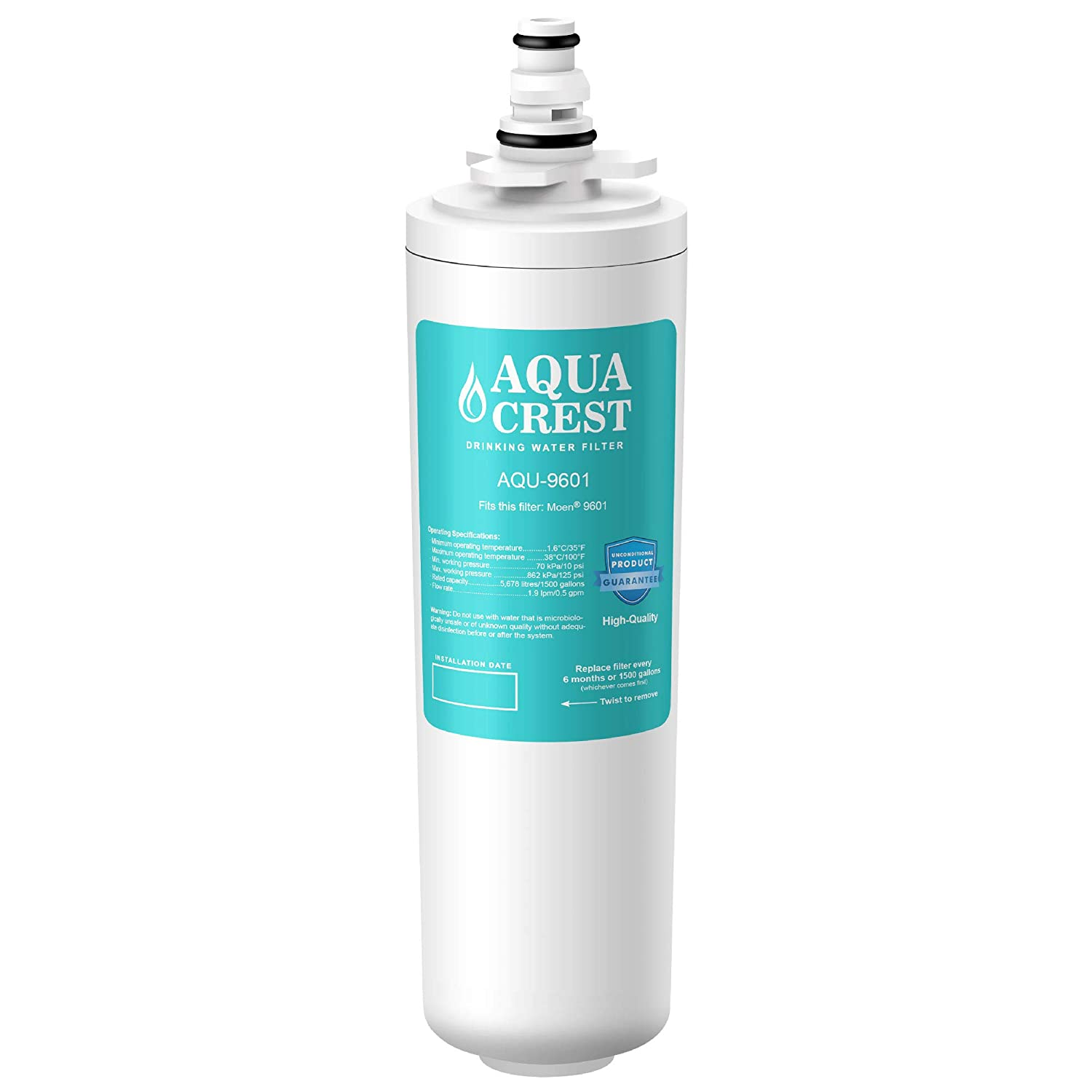 AQUACREST 9601 Water Filter, Compatible with Moen 9601 ChoiceFlo, 9600, Fits F87400, F7400, F87200, 77200, CAF87254, S5500 Series of Moen Faucets