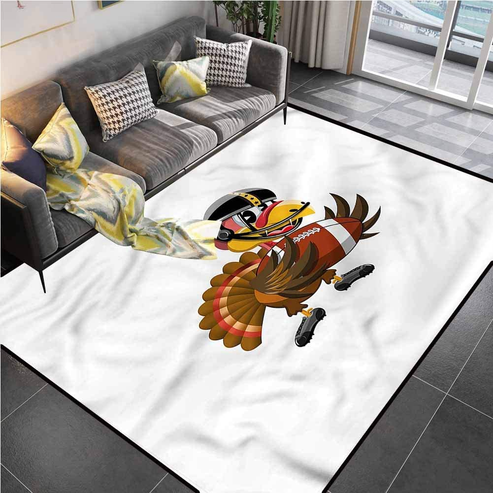 Area Rug Rugs Print Large Floor Mat Turkey,Sport Themed Cartoon Office Chair mat for Carpet for Kids Yoga Living Room Home Decor Rugs 4'x6'