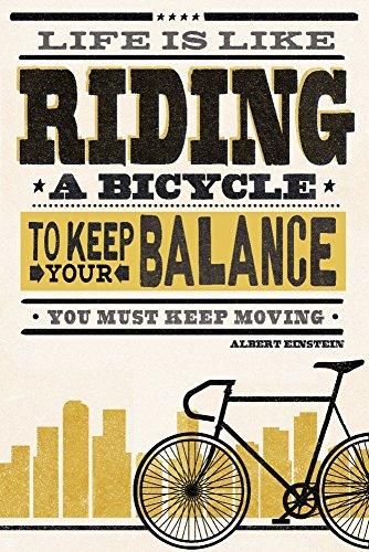 a Bicycle - Screenprint Style - Albert Einstein (High) (9x12 Art Print, Wall Decor Travel Poster) ()
