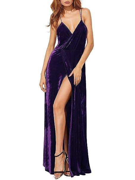 Women's V-Neck Backless Wrap Velvet Cocktai Party Dress