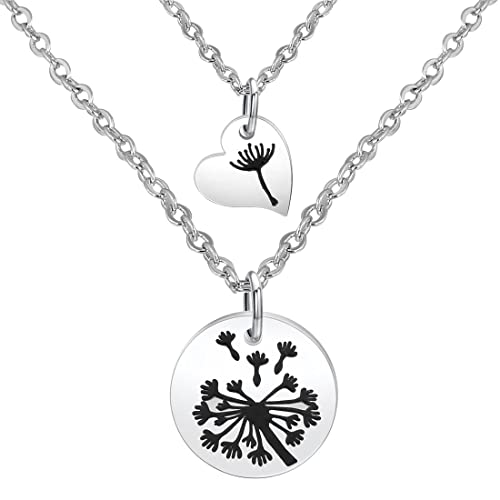 3ca2f41c9d4 Zuo Bao Dandelion Mother Daughter Necklace Set Mother Daughter Jewelry  Dandelion Necklace (Silver-1