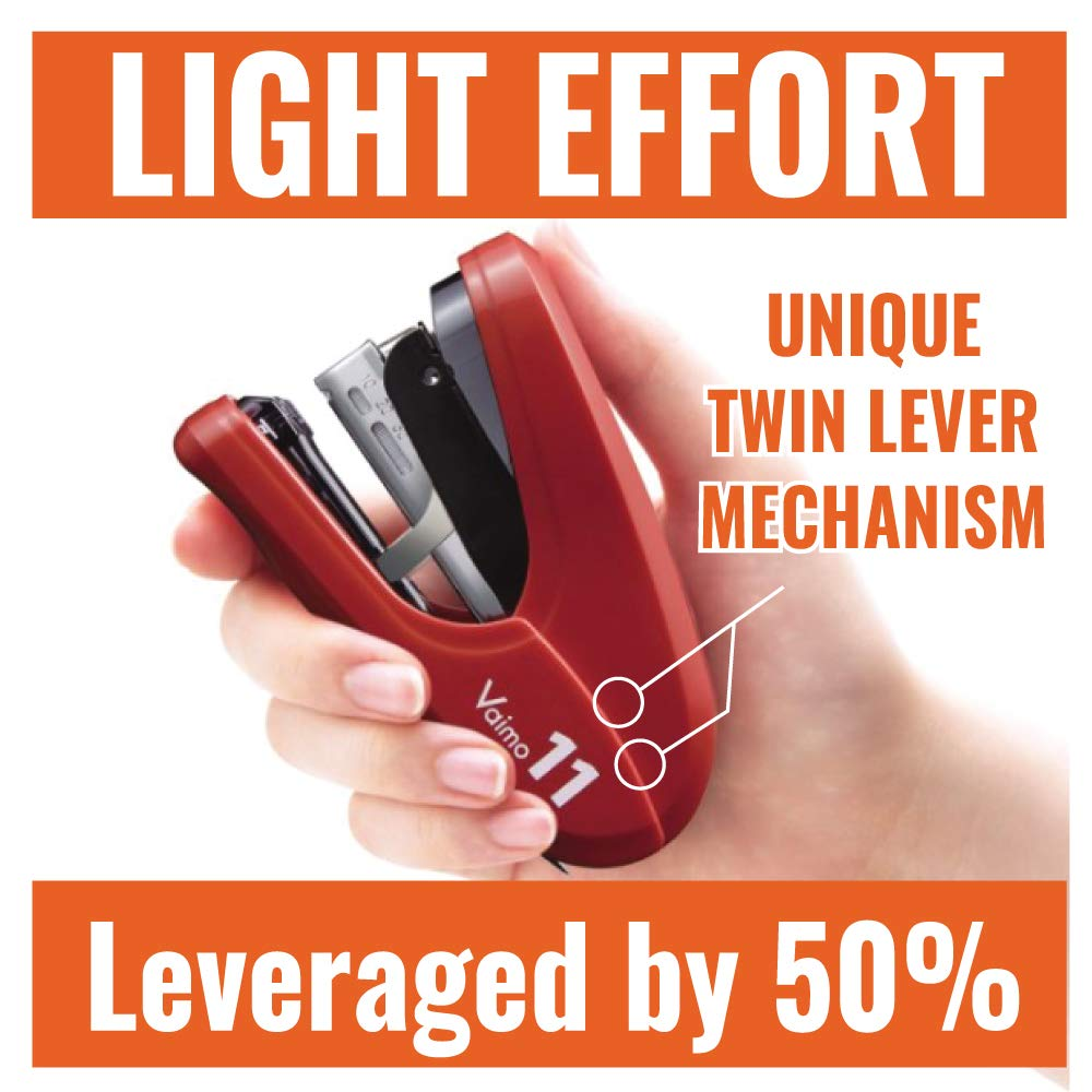 Max Flat Clinch Light Effort Stapler 35-Sheet Capacity Red HD11FLKRD