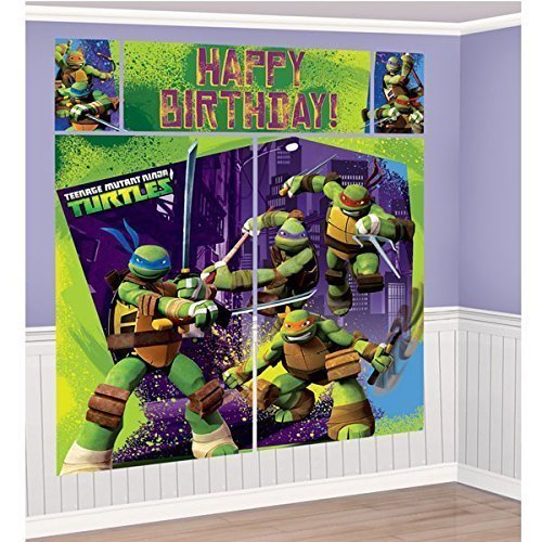 Nickelodeon Ninja Turtles Scene Setters Wall Banner Decorating Kit Birthday Party Supplies ()
