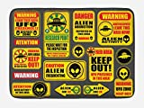 Lunarable Outer Space Bath Mat, Warning Ufo Signs with Alien Faces Heads Galactic Theme Paranormal Activity Design, Plush Bathroom Decor Mat with Non Slip Backing, 29.5 W X 17.5 W Inches, Yellow