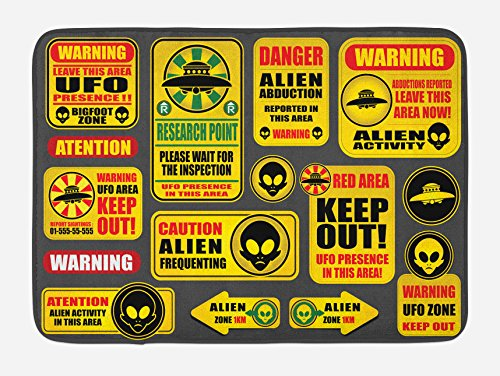 Lunarable Outer Space Bath Mat, Warning Ufo Signs with Alien Faces Heads Galactic Theme Paranormal Activity Design, Plush Bathroom Decor Mat with Non Slip Backing, 29.5 W X 17.5 W Inches, Yellow by Lunarable