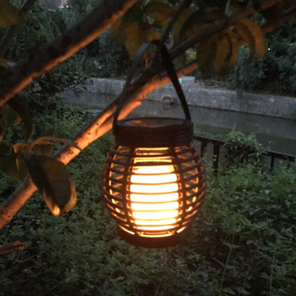 Aoile LED Impermeabile Solar Powered Candela Lanterna lampione in Rattan Luce per Giardino Esterno Decorazione