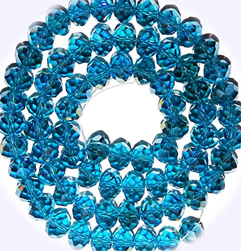 New Dark Teal Blue AB 10mm Rondelle Faceted Cut Crystal Glass Jewelry-Making Beads 22-inch DIY Craft Supplies for Handmade Bracelet Necklace