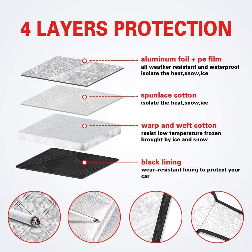 GES Car Windshield Snow Cover Windshield Frost Cover with 4 Layers Protector Truck UV Protection Waterproof Car Snow Cover Windshield for Snow Frost Cover Fit Most Car SUV Van 61x53 Inch