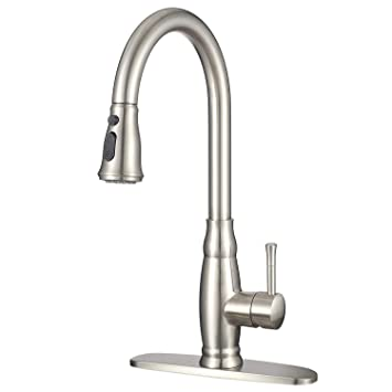 Imlezon Modern Kitchen Sink Faucet With Pull Down Sprayer Stainless