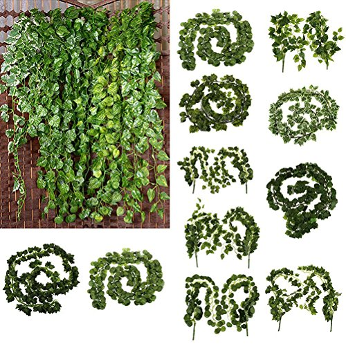 Artificial Fake Hanging Plant Leaves Garland Home Garden Wall Decoration Wedding Garlands Poison Ivy Costume Wedding Decor 6.5ft 12pcs]()