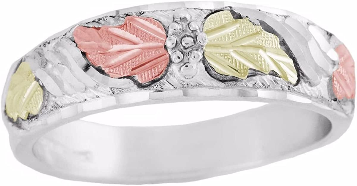 Mens Diamond-Cut Grape Leaf Ring Sterling Silver 12k Green and Rose Gold Black Hills Gold Motif