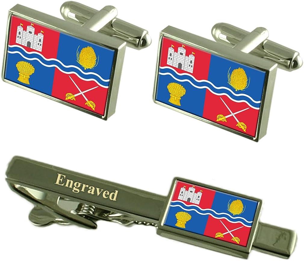 Select Gifts Newbury City England Flag Cufflinks Engraved Tie Clip Set
