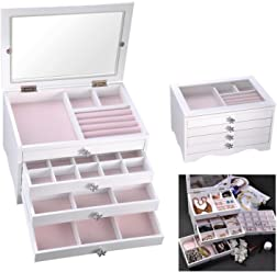 Yescom Wooden Jewelry Box Organizer Storage Case Transparent Acrylic Lid Ring Earring Necklace White
