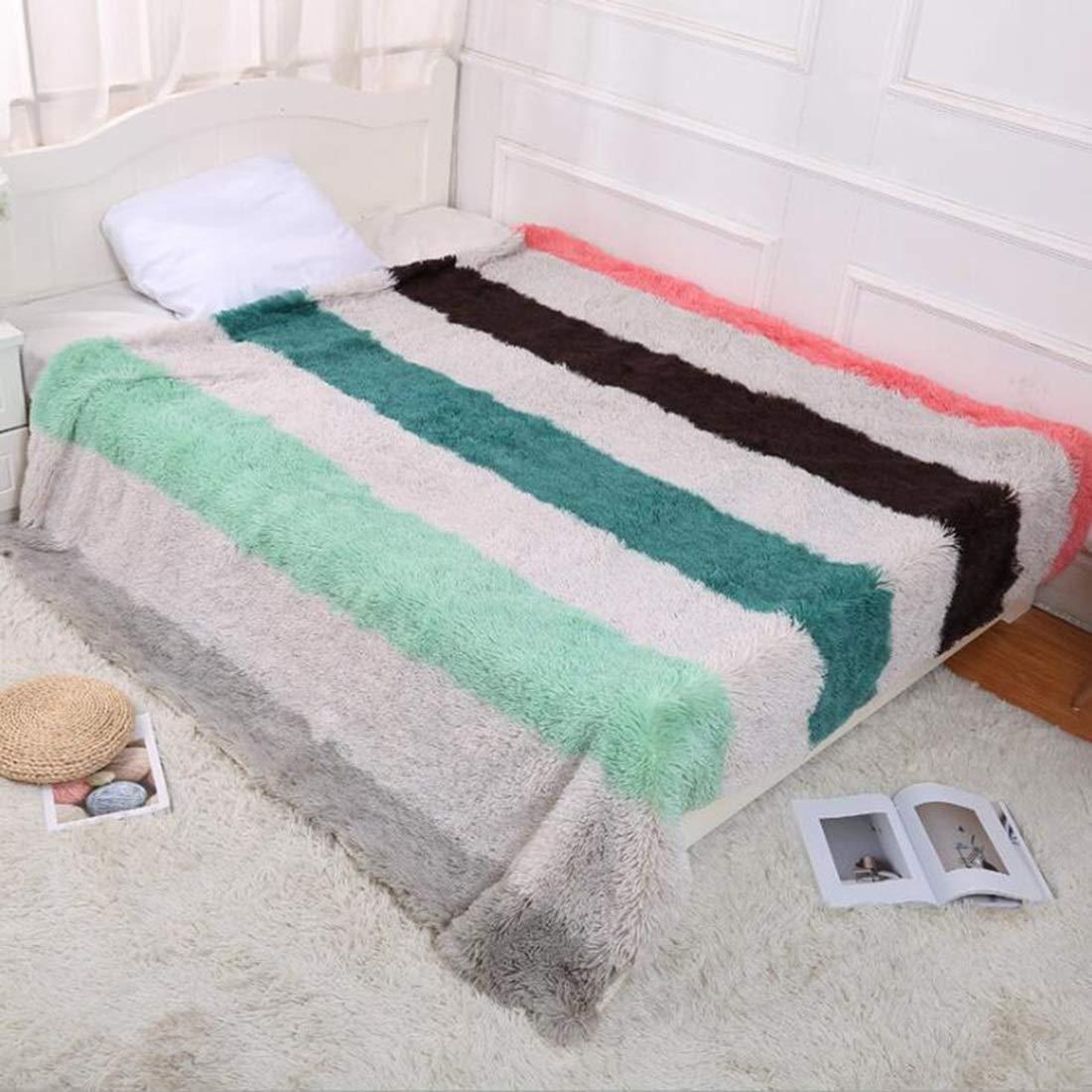 Yunyilian ソファのベッドのリビングルームのための毛布二層フランネルぬいぐるみスーパーソフト居心地の良い暖かいを投げる (Color : Gray Stripes, サイズ : 63