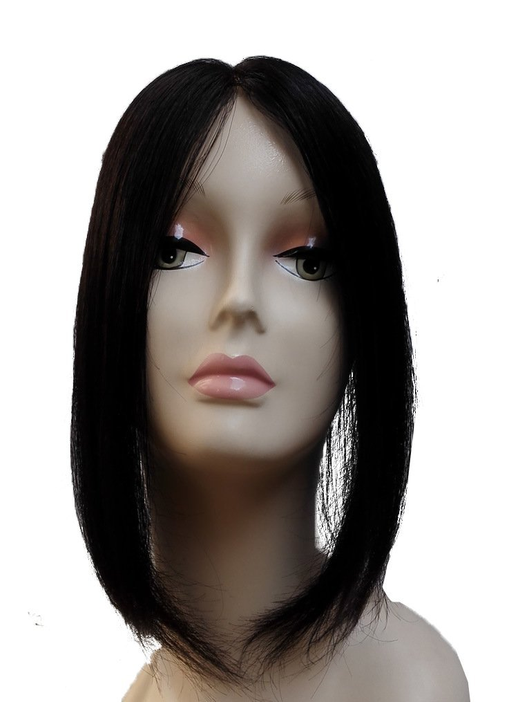 Remeehi 12 Long Straight Women Hairpiece 100% Human Hair Topper Long Hairpiece Middle Part Top Piece For Women 4# dark blown
