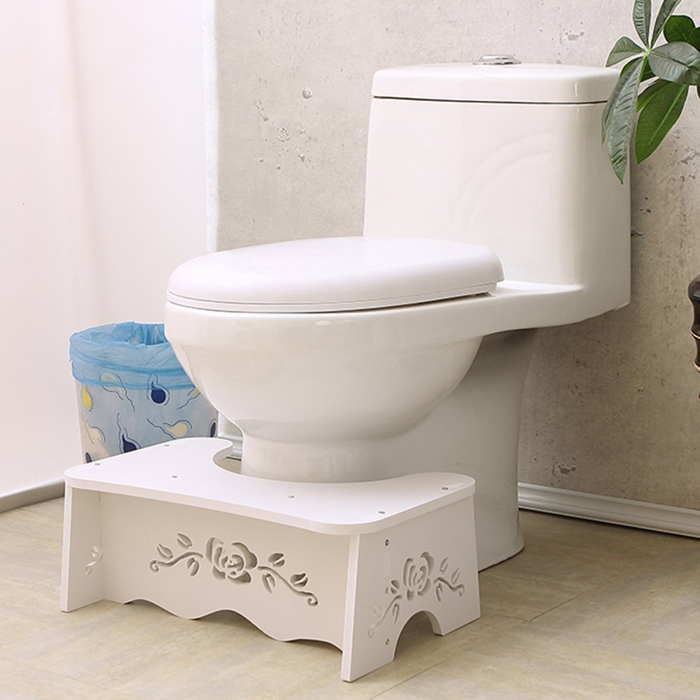 Home-organizer Tech Toilet Stool,Squat Toilet Stool, Bathroom Squat Toilet Stool,White Wood Bathroom Step,Comfortable Squat Aid for Kids,Children,Toddlers,Adults- 7 inch (Rose) by Home-organizer Tech