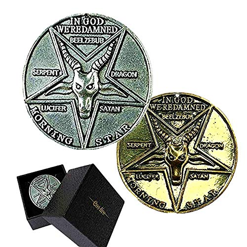 Ajpicture Lucifer Pentecostal Coin Silver&Gold Coin Cosplay Accessories Movie Costume Prop (Silver)