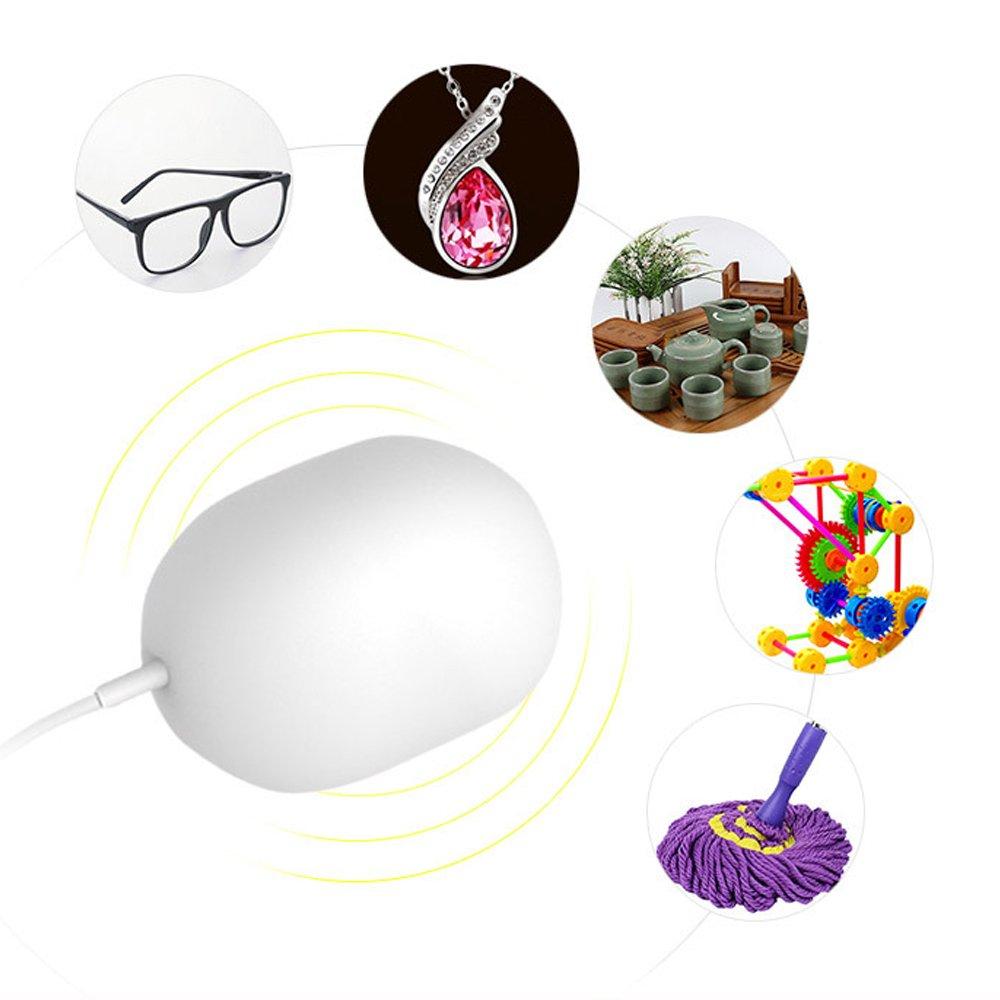 HAIT Ultraschall-Reinigungsgerät 5V 10A USB-Mini-Reinigungsgerät Waschbar Leichte Kleidung, Obst und Gemüse, Gläser, Schmuck Bevorzugte Reise,White Obst und Gemüse Gläser