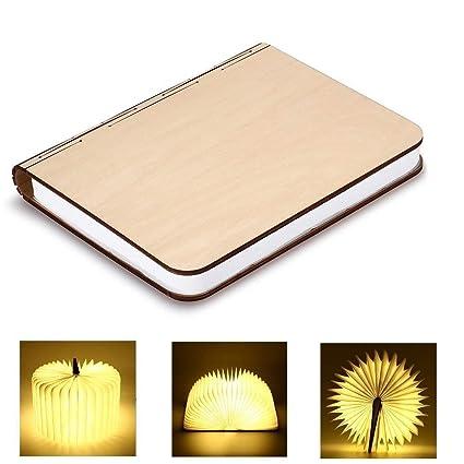 GEEDIAR Große LED Buch lampe in Buch Form Holzbuch mit 2500 mAh Akku Lithium Nachttischlampe Nachtlicht dekorative Lampen DuP