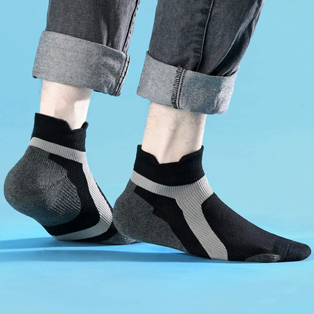 GINZIN Mens Running Socks//Ankle Athletic Trainer Socks Low Cut Sports Socks with Heel Tab