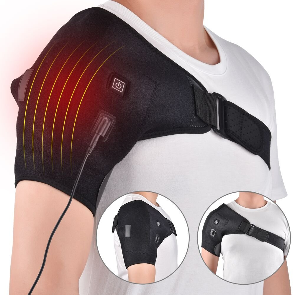 HailiCare Heat Therapy Shoulder Brace Adjustable Shoulder Heating Pad for Rotator Cuff, Frozen Shoulder or Shoulder Dislocation, Hot Cold Support Wrap Fits Men and Women (Chest Size: 27''-55'')