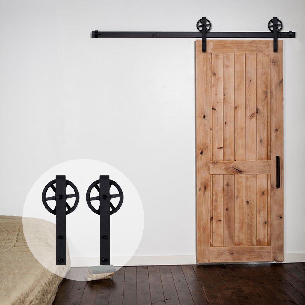 País de América ccjh acero puerta corrediza de granero Hardware con grandes rodillos negro 10 pies para puerta: Amazon.es: Bricolaje y herramientas