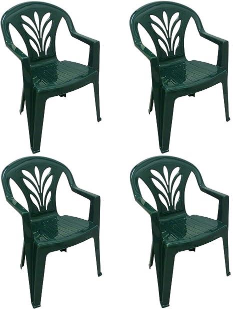 4 sillas Taormina de dura resina de plástico verde, apilables ...