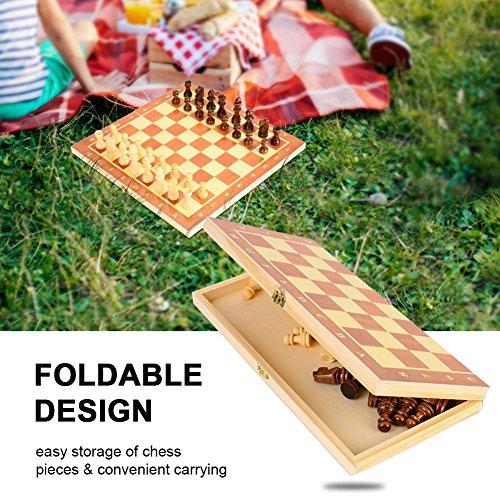 Tablero de ajedrez de Madera portátil, Tablero Plegable, Juego de ajedrez para Fiestas, Actividades Familiares