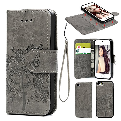 iPhone 5 5S SE, Wallet Case PU Leather Oil Wax Embossed Tree Butterfly Detachable Wallet Magnetic Flip TPU Shock Absorbing Cover Card Slots Holder for iPhone 5 5S SE Gray (Iphone 5 Giving Tree Case)
